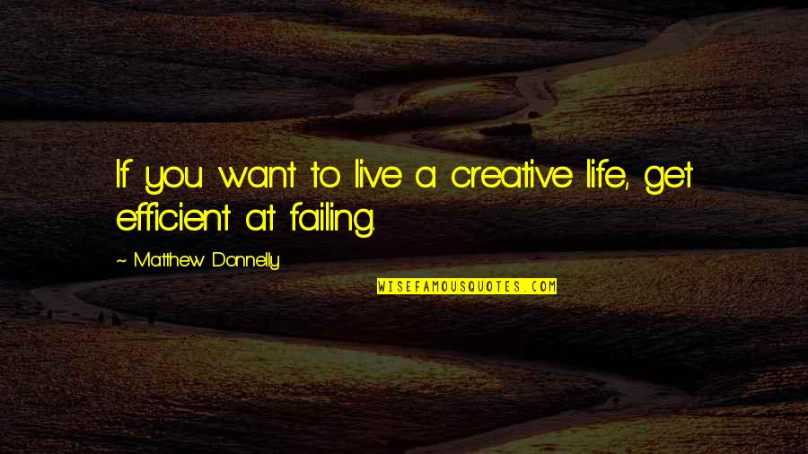 Failing In Life Quotes By Matthew Donnelly: If you want to live a creative life,