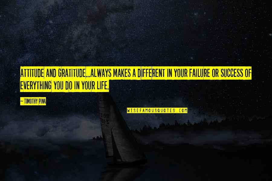Failure And Motivational Quotes By Timothy Pina: Attitude and Gratitude...always makes a different in your