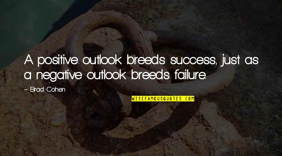 Failure Breeds Success Quotes By Brad Cohen: A positive outlook breeds success, just as a
