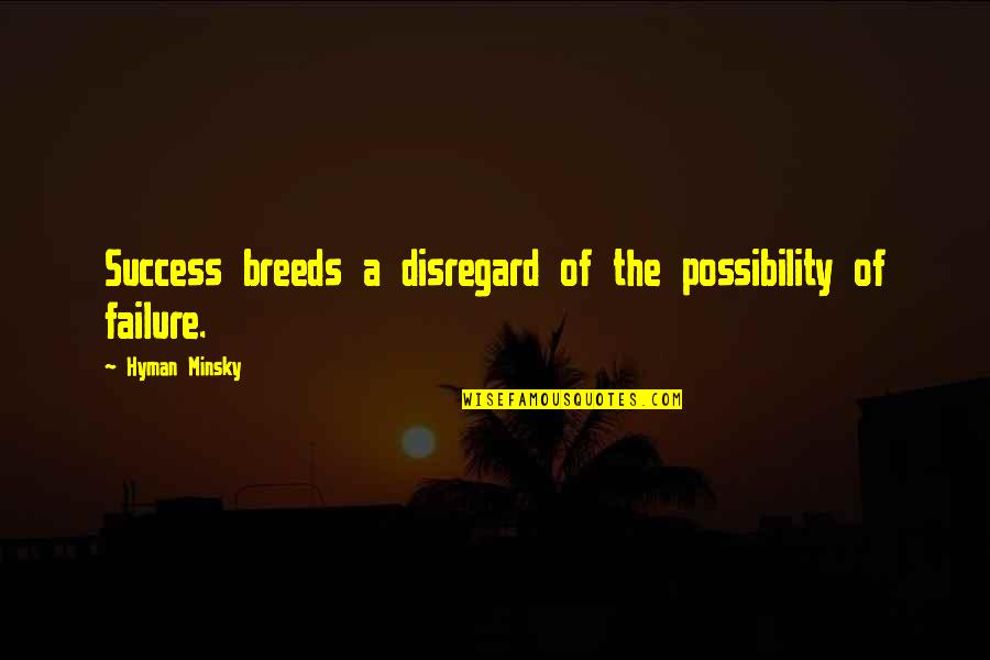 Failure Breeds Success Quotes By Hyman Minsky: Success breeds a disregard of the possibility of