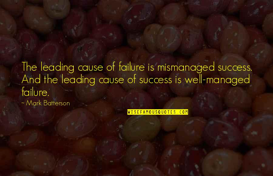 Failure Leading To Success Quotes By Mark Batterson: The leading cause of failure is mismanaged success.