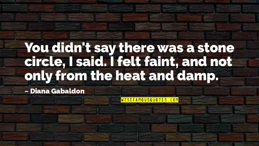 Faint Not Quotes By Diana Gabaldon: You didn't say there was a stone circle,