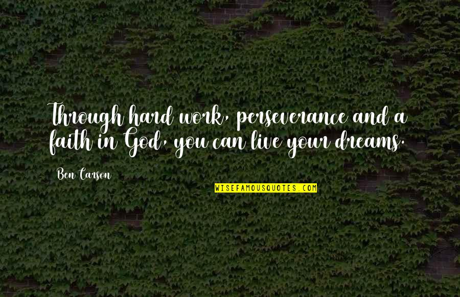 Faith In Dreams Quotes By Ben Carson: Through hard work, perseverance and a faith in
