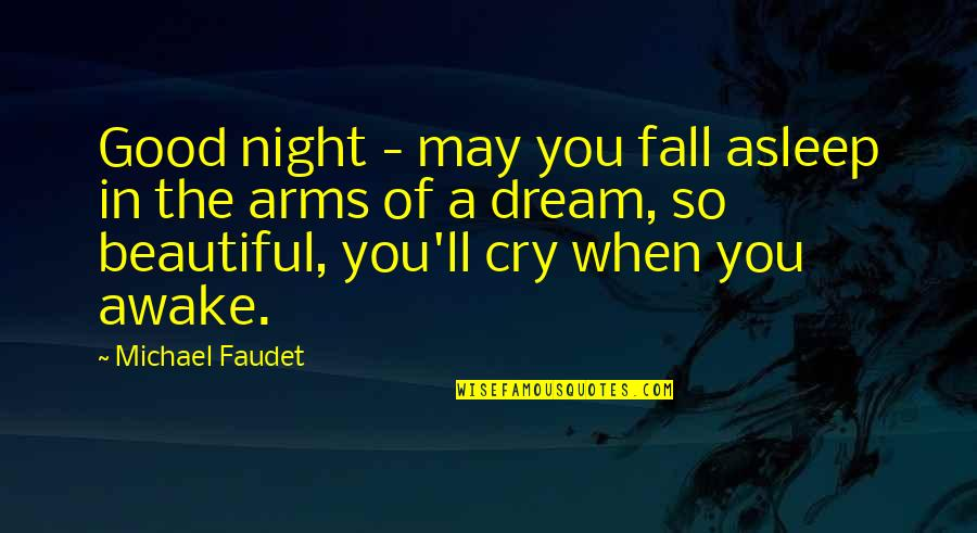 Fall Asleep In My Arms Quotes By Michael Faudet: Good night - may you fall asleep in