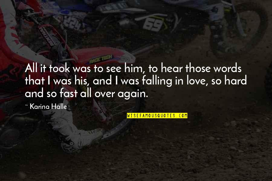 Falling For You Too Fast Quotes By Karina Halle: All it took was to see him, to