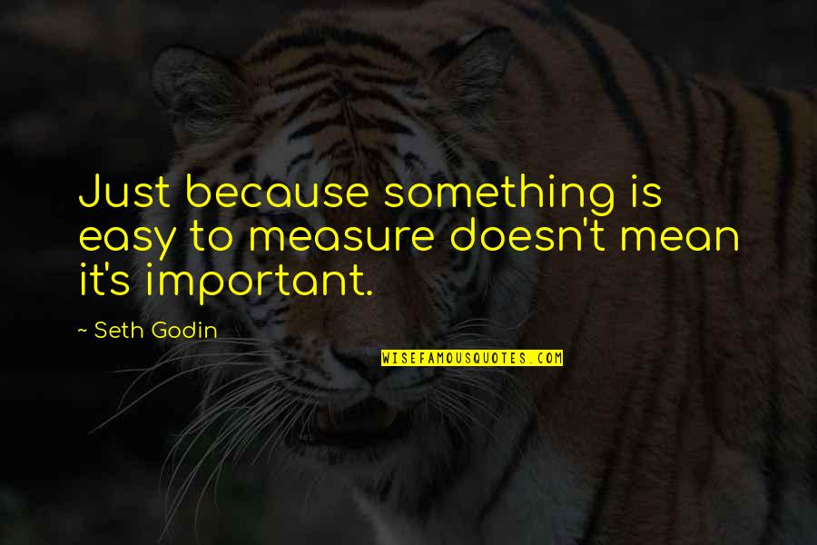 Falling In Love With Potential Quotes By Seth Godin: Just because something is easy to measure doesn't