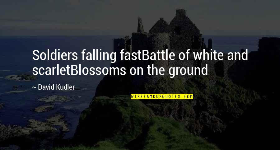 Falling On The Ground Quotes By David Kudler: Soldiers falling fastBattle of white and scarletBlossoms on