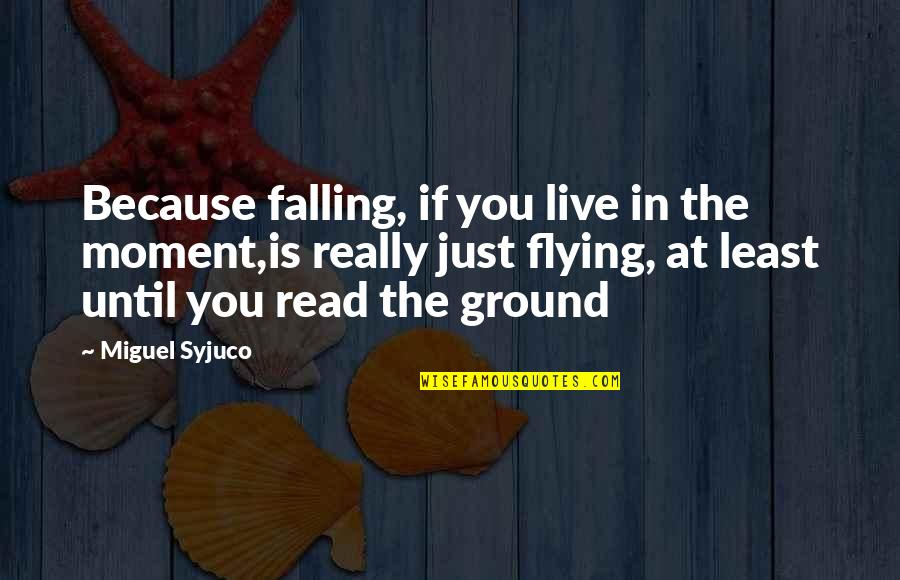Falling On The Ground Quotes By Miguel Syjuco: Because falling, if you live in the moment,is