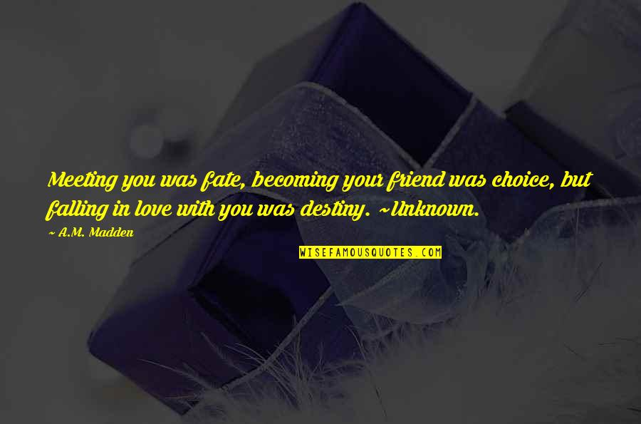 Falling Out With Your Best Friend Quotes By A.M. Madden: Meeting you was fate, becoming your friend was