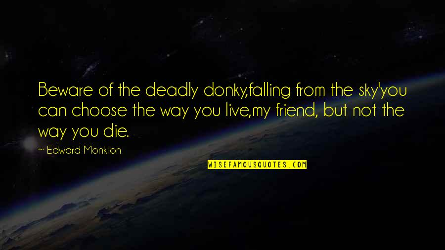 Falling Out With Your Best Friend Quotes By Edward Monkton: Beware of the deadly donky,falling from the sky'you