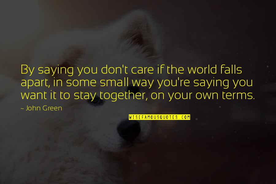 Falls Apart Quotes By John Green: By saying you don't care if the world