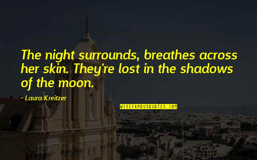 Falls In Love Quotes By Laura Kreitzer: The night surrounds, breathes across her skin. They're