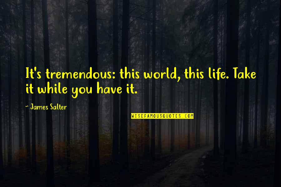 False Love Quotes Quotes By James Salter: It's tremendous: this world, this life. Take it