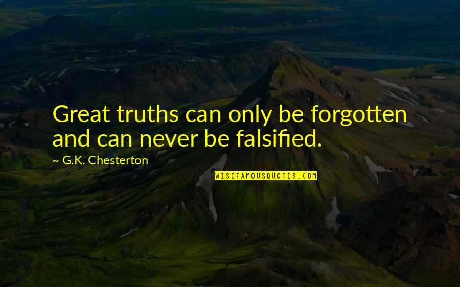 Falsified Quotes By G.K. Chesterton: Great truths can only be forgotten and can