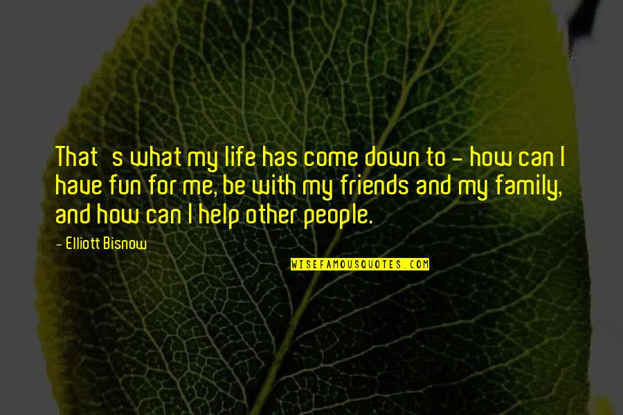 Family And Friends Life Quotes By Elliott Bisnow: That's what my life has come down to