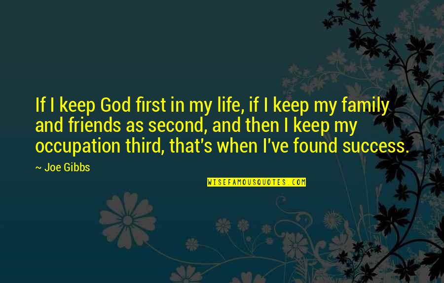 Family And Friends Life Quotes By Joe Gibbs: If I keep God first in my life,
