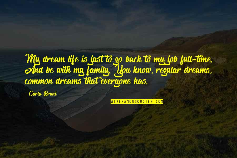 Family And Time Quotes By Carla Bruni: My dream life is just to go back
