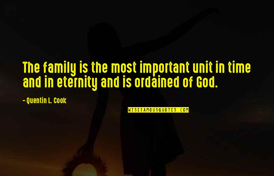 Family And Time Quotes By Quentin L. Cook: The family is the most important unit in