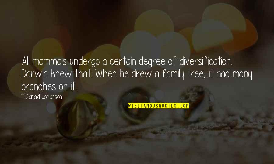 Family And Tree Quotes By Donald Johanson: All mammals undergo a certain degree of diversification.