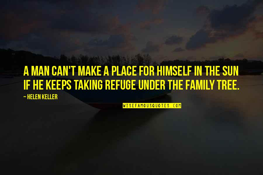 Family And Tree Quotes By Helen Keller: A man can't make a place for himself
