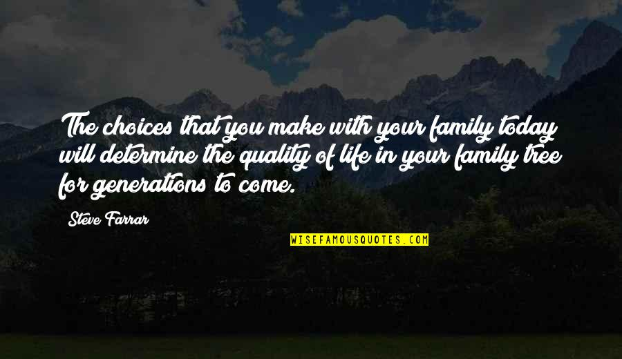 Family And Tree Quotes By Steve Farrar: The choices that you make with your family