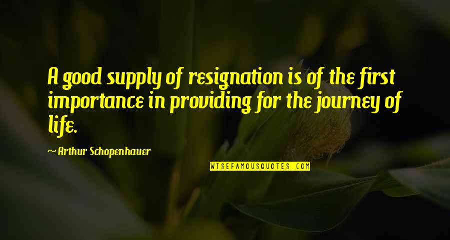 Family Branch Quotes By Arthur Schopenhauer: A good supply of resignation is of the