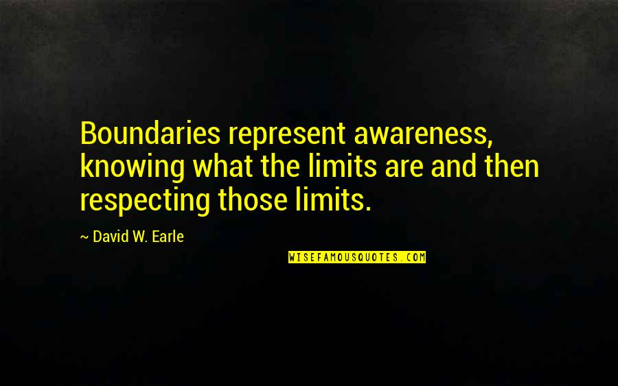 Family Dysfunction Quotes By David W. Earle: Boundaries represent awareness, knowing what the limits are