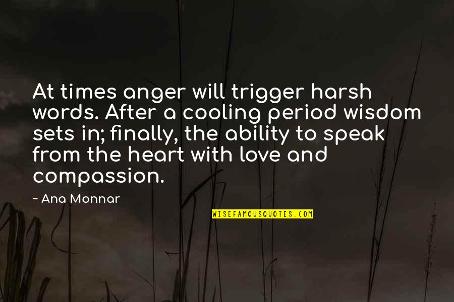Famous Bad Guy Quotes By Ana Monnar: At times anger will trigger harsh words. After