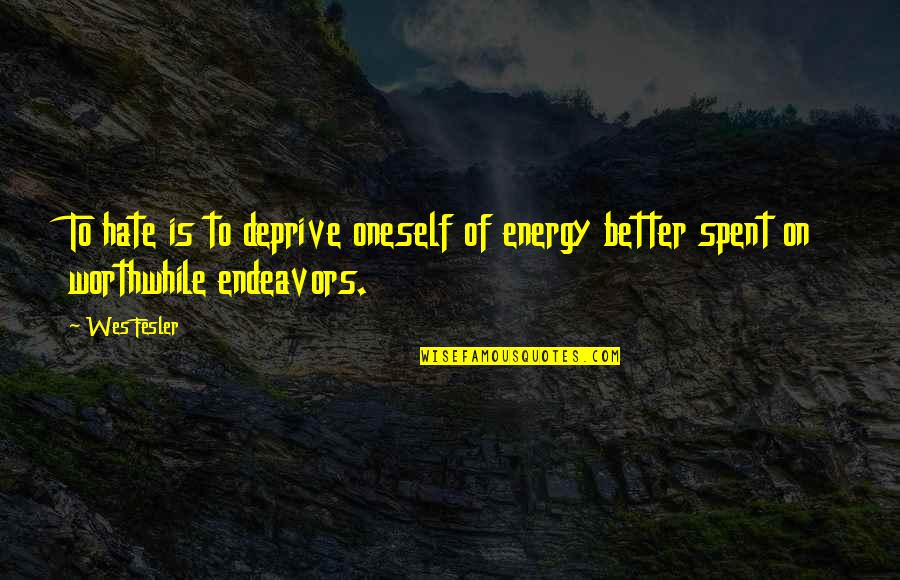 Famous Bad Guy Quotes By Wes Fesler: To hate is to deprive oneself of energy