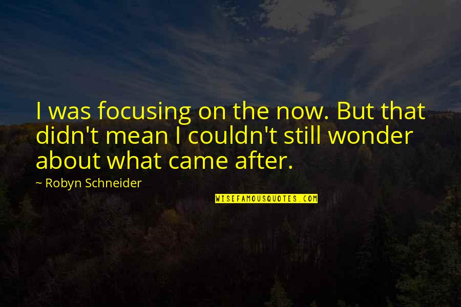 Famous Chaotic Quotes By Robyn Schneider: I was focusing on the now. But that