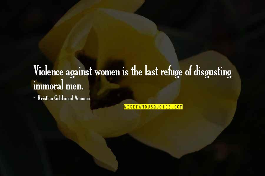 Famous Cristina Yang Quotes By Kristian Goldmund Aumann: Violence against women is the last refuge of