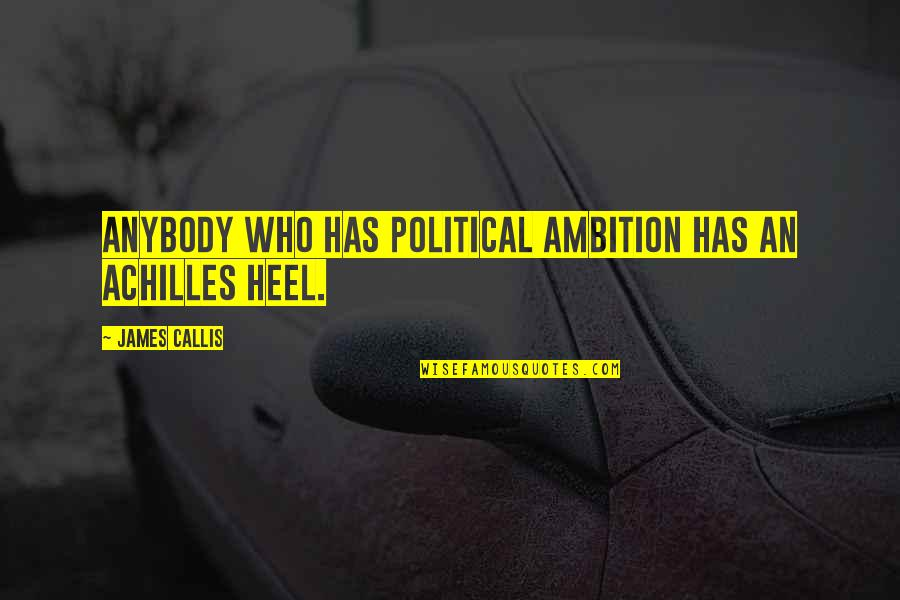 Famous Espn Quotes By James Callis: Anybody who has political ambition has an Achilles