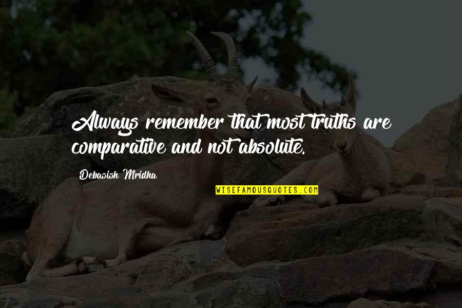 Famous Filipino Authors Quotes By Debasish Mridha: Always remember that most truths are comparative and