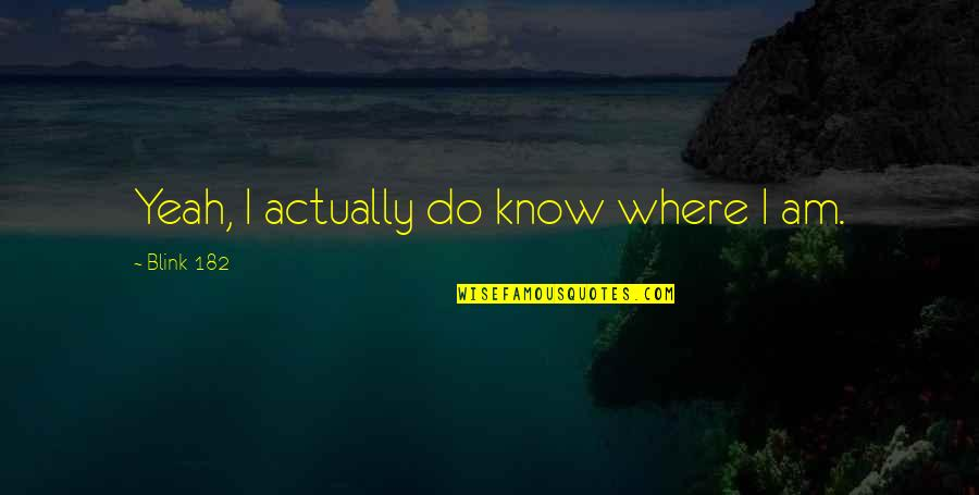 Famous Football Halftime Quotes By Blink-182: Yeah, I actually do know where I am.