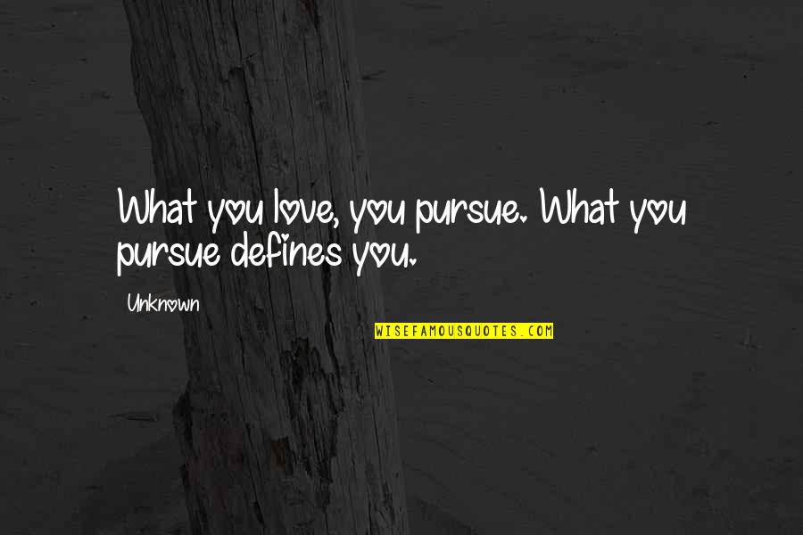 Famous Funny Kid Movie Quotes By Unknown: What you love, you pursue. What you pursue