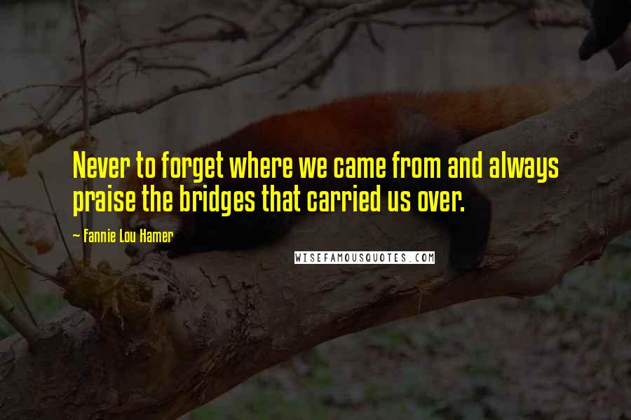 Fannie Lou Hamer quotes: Never to forget where we came from and always praise the bridges that carried us over.