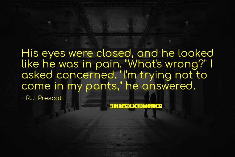 Fanny Dashwood Quotes By R.J. Prescott: His eyes were closed, and he looked like