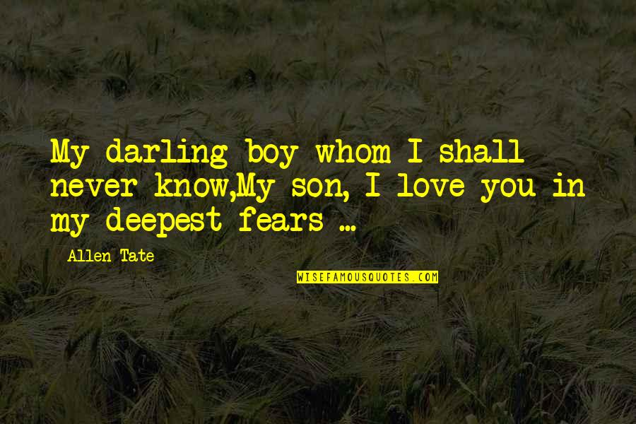 Fanstastic Quotes By Allen Tate: My darling boy whom I shall never know,My