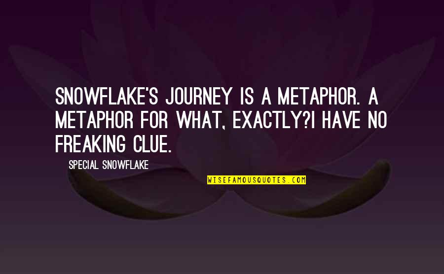 Far Side Of The World Quotes By Special Snowflake: Snowflake's journey is a metaphor. A metaphor for