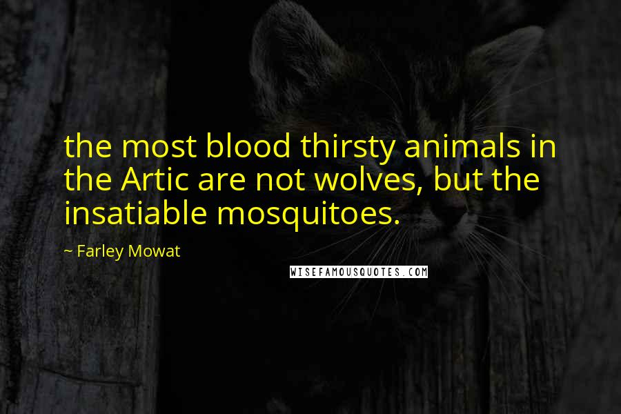 Farley Mowat quotes: the most blood thirsty animals in the Artic are not wolves, but the insatiable mosquitoes.