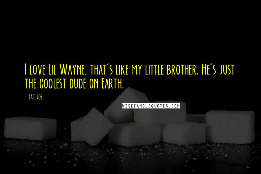 Fat Joe quotes: I love Lil Wayne, that's like my little brother. He's just the coolest dude on Earth.
