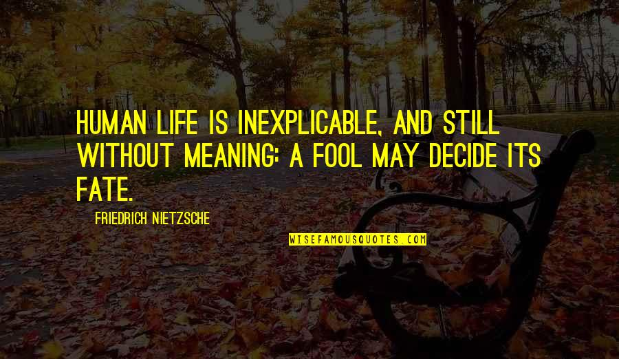 Fate Decide Quotes By Friedrich Nietzsche: Human life is inexplicable, and still without meaning: