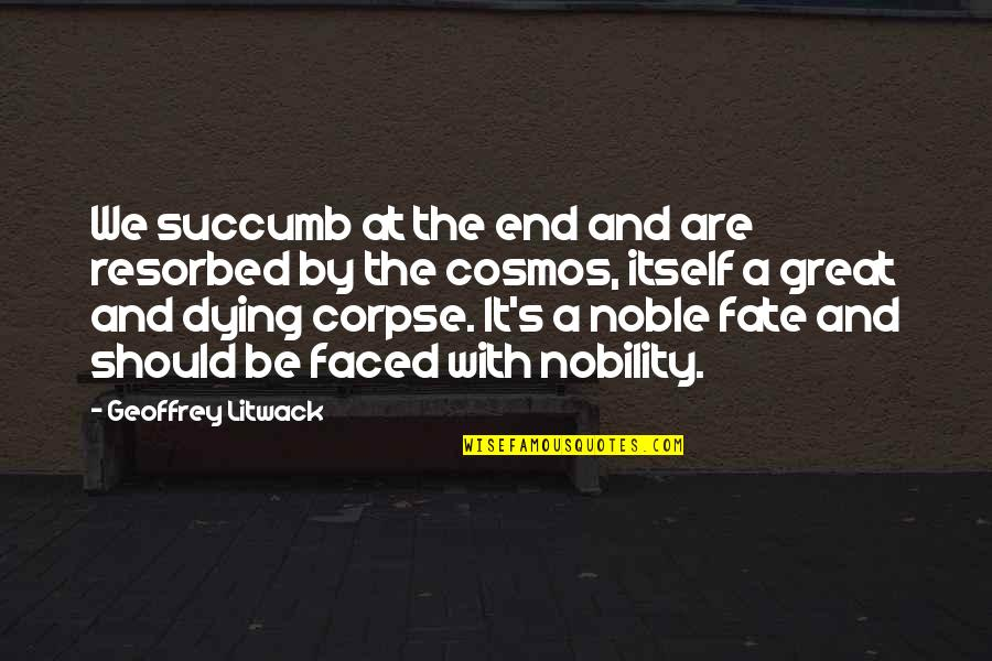 Fate Quotes By Geoffrey Litwack: We succumb at the end and are resorbed