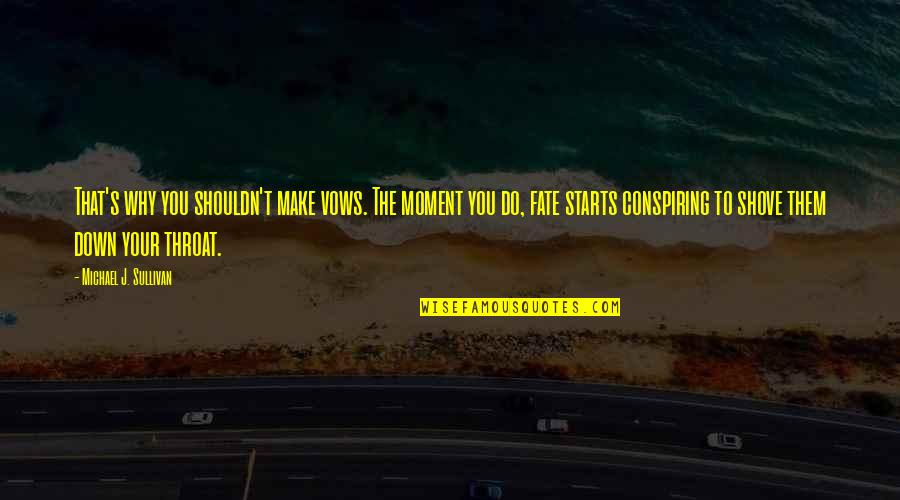 Fate Quotes By Michael J. Sullivan: That's why you shouldn't make vows. The moment