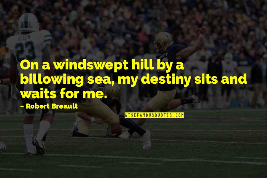 Fate Quotes By Robert Breault: On a windswept hill by a billowing sea,