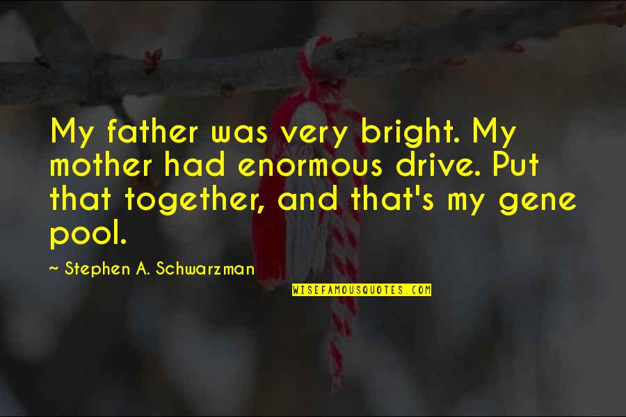 Father And Mother Quotes By Stephen A. Schwarzman: My father was very bright. My mother had