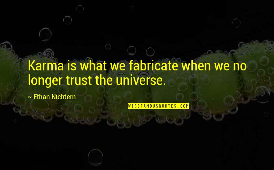 Favourite French Quotes By Ethan Nichtern: Karma is what we fabricate when we no