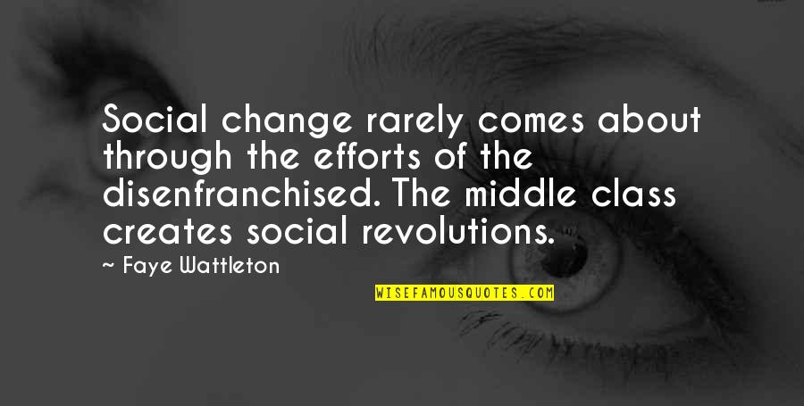 Faye's Quotes By Faye Wattleton: Social change rarely comes about through the efforts