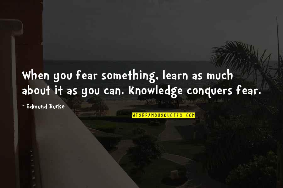 Fear Conquering Quotes By Edmund Burke: When you fear something, learn as much about