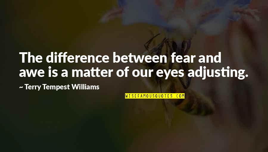 Fear In Your Eyes Quotes By Terry Tempest Williams: The difference between fear and awe is a